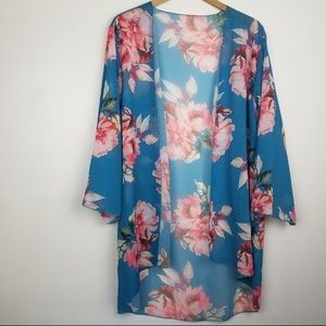 Blue Kimono with Pink Florals Flowing Big Sleeves